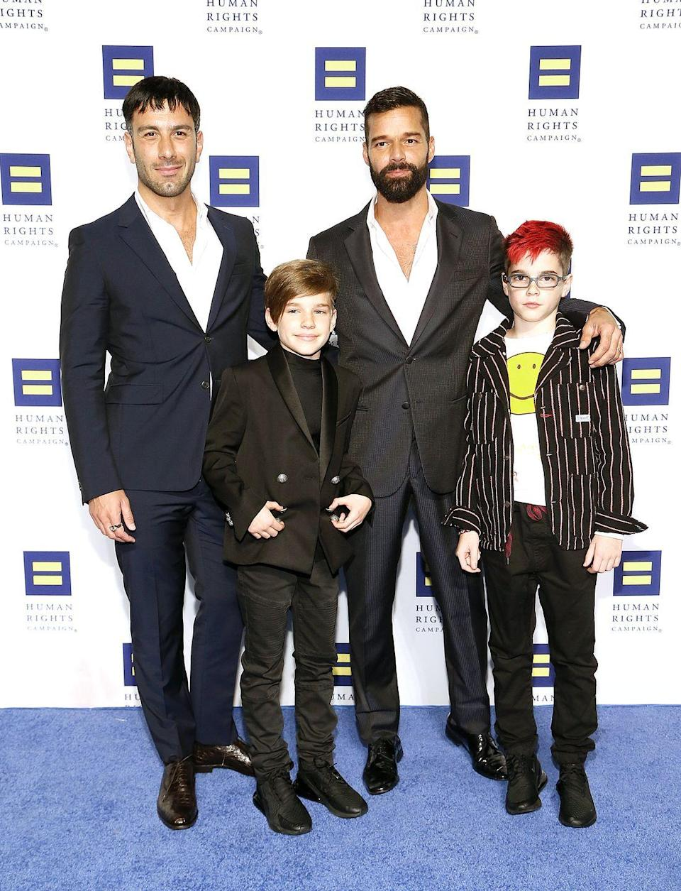 "<p>Ricky Martin has always wanted a <a href=""https://www.cbsnews.com/news/ricky-martin-on-performing-coming-out-and-fatherhood/"" rel=""nofollow noopener"" target=""_blank"" data-ylk=""slk:big family"" class=""link rapid-noclick-resp"">big family</a>. He and husband Jwan Yosef welcomed their daughter Renn last year, making them a family of six. They're pictured here with their oldest, twin sons Matteo and Valentino. ""Everything changes. It's not about you anymore,"" he said to <a href=""https://www.cbsnews.com/news/ricky-martin-on-performing-coming-out-and-fatherhood/"" rel=""nofollow noopener"" target=""_blank"" data-ylk=""slk:CBS News"" class=""link rapid-noclick-resp"">CBS News</a> about fatherhood. ""And I'm only starting; I want a big family. I like the noise of children running around the house."" </p>"