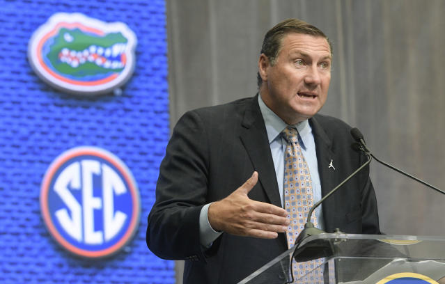 Florida head coach Dan Mullen speaks during the NCAA college football Southeastern Conference media days at the College Football Hall of Fame in Atlanta. (AP)