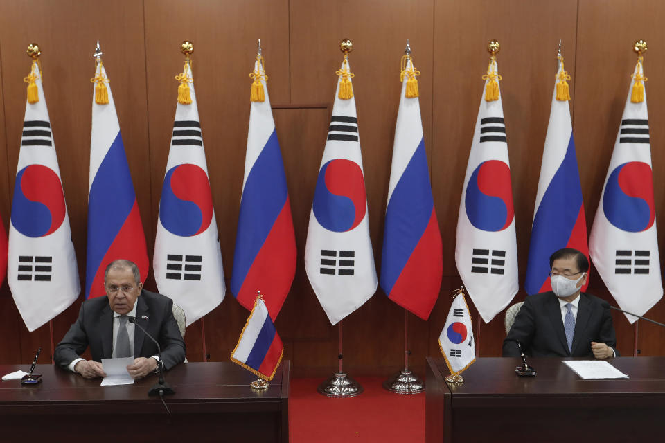 Russian Foreign Minister Sergey Lavrov, left, speaks during a joint announcement with South Korean Foreign Minister Chung Eui-yong at the Foreign Ministry in Seoul, South Korea, Thursday, March 25, 2021. (AP Photo/Ahn Young-joon, Pool)