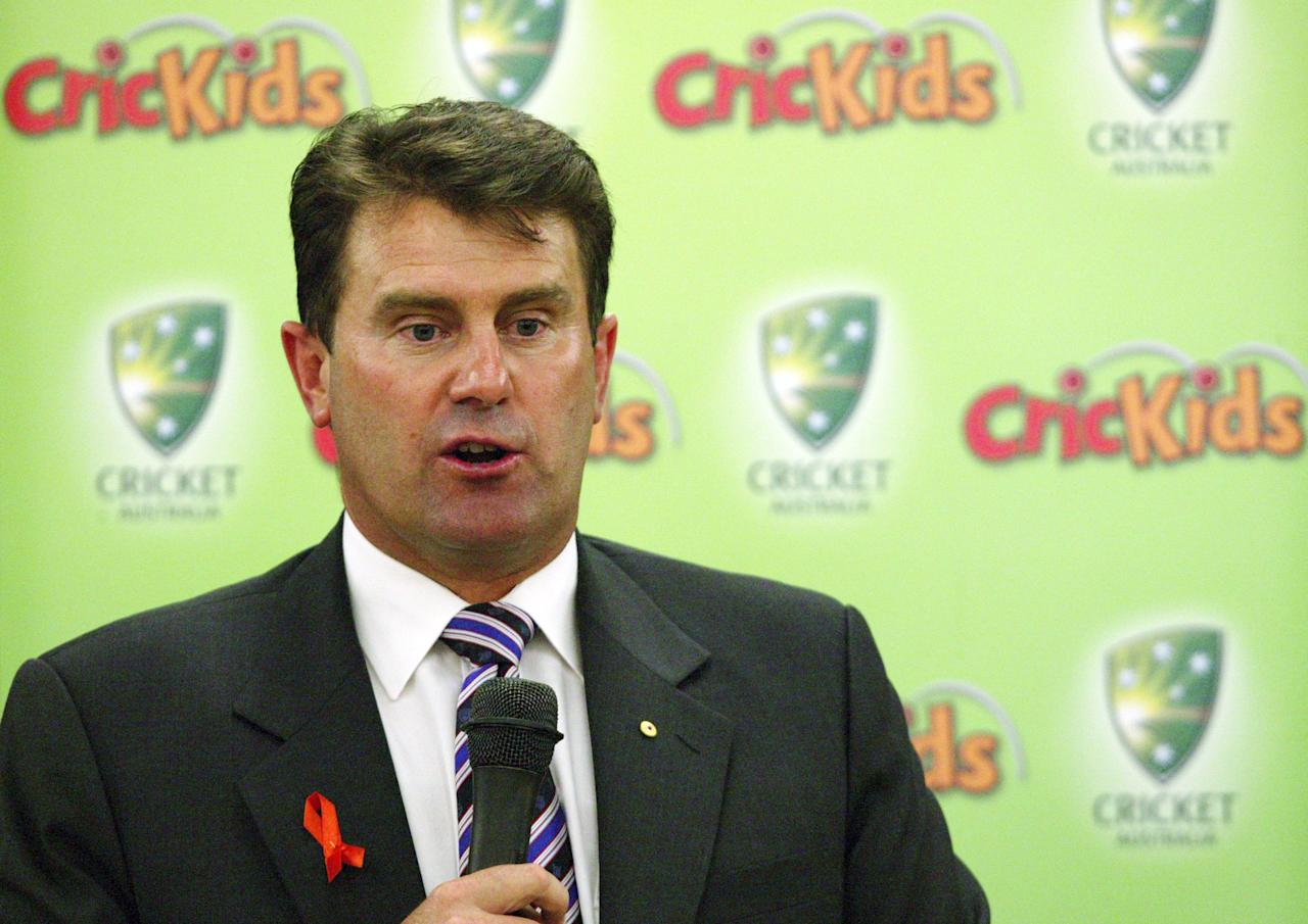 "SYDNEY, AUSTRALIA - OCTOBER 23:  Former Australian captain Mark Taylor talks to students about issues relating to racism and bullying in sports during the launch of Cricket Australia's  ""Playing In Harmony"" school Initiative at Blaxcell Street Public School on October 23, 2007 in Sydney, Australia. The initiative, which stems from Cricket Australia's partnership with the Federal Government's Department of Immigration and Multicultural Affairs, aims to encourage children to discuss important social issues and celebrate cultural diversity and inclusion.  (Photo by Brendon Thorne/Getty Images)"