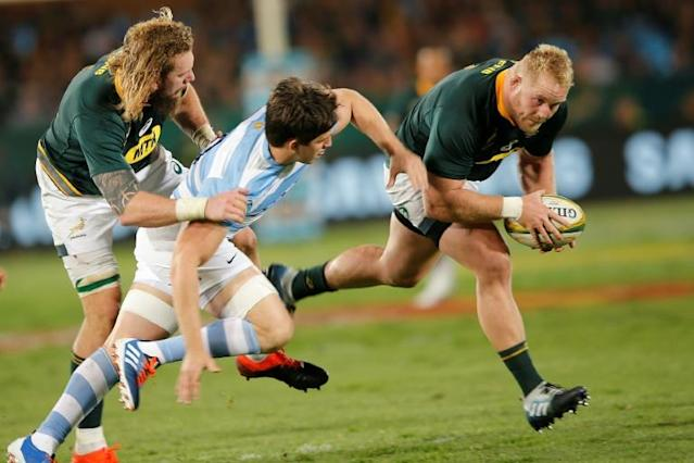 South Africa Rugby World Cup squad contender Vincent Koch (R) playing against Argentina in Pretoria this weekend (AFP Photo/MARCO LONGARI)