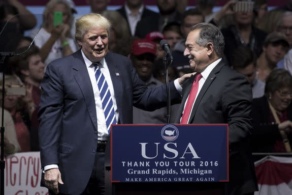 Donald Trump, then president-elect, introduces Dow CEO Andrew N. Liveris.