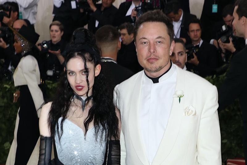 "NEW YORK, NY - MAY 07: Grimes and Elon Musk attend ""Heavenly Bodies: Fashion & the Catholic Imagination"", the 2018 Costume Institute Benefit at Metropolitan Museum of Art on May 7, 2018 in New York City. (Photo by Taylor Hill/Getty Images)"