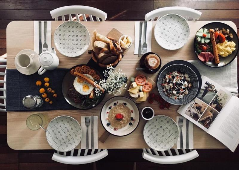 top down shot of food from fika