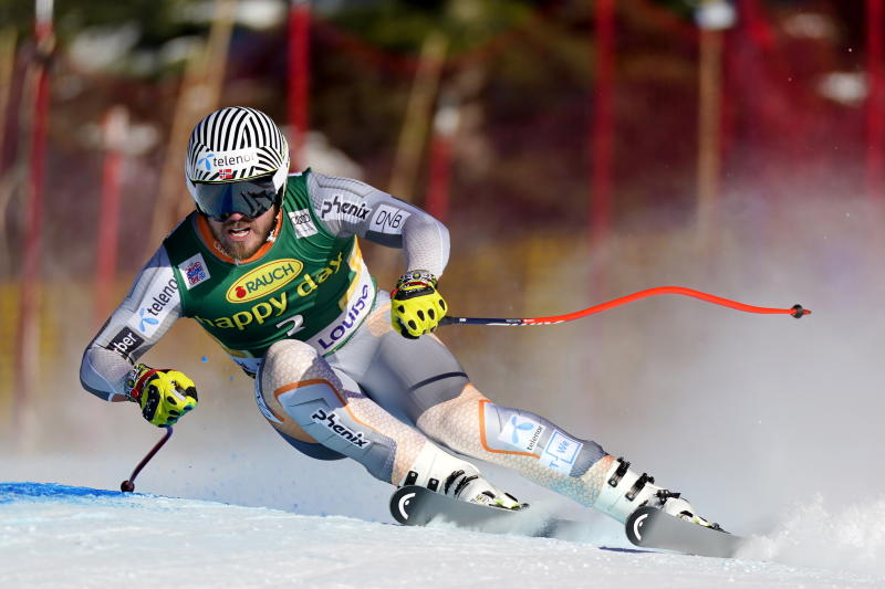 Kjetil Jansrud, of Norway, skis down the course during the men's World Cup super-G ski race in Lake Louise, Alberta, Sunday, Dec. 1, 2019. (Frank Gunn/The Canadian Press via AP)