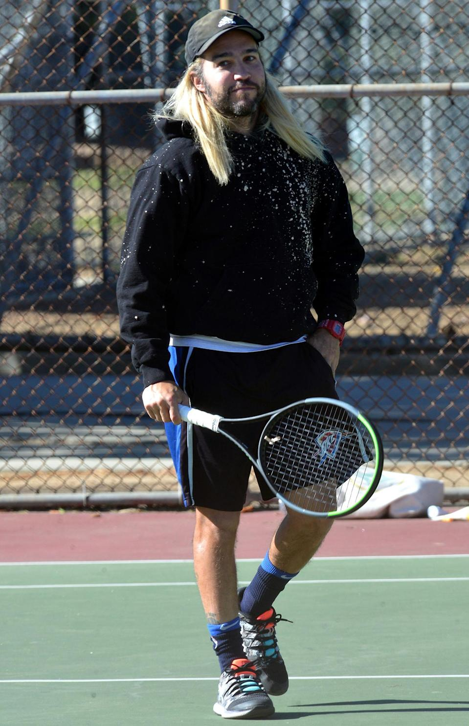 <p>Pete Wentz was spotted playing tennis in Studio City, California.</p>