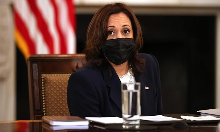 Kamala Harris at a White House meeting with immigration advisers