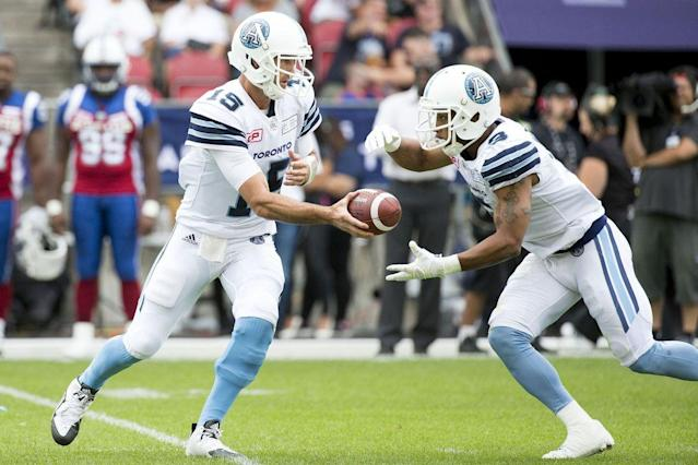 TORONTO, ON - AUGUST 19: Ricky Ray of the Toronto Argonauts during the first half of CFL action as the Toronto Argonauts host the Montreal Alouettes at BMO field. Ricky Ray is now the franchise leader in passing touchdowns. (Carlos Osorio/Toronto Star via Getty Images)
