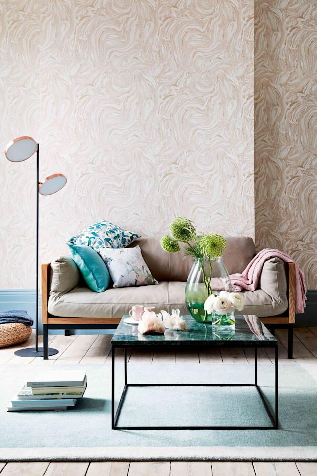 <p>A muted colour palette of blossom and stone grey comes alive with pops of teal and rose gold.</p><p>With the tones and patterns of marble, this wallpaper is the perfect backdrop for accessories in soft, leafy designs.<br></p>