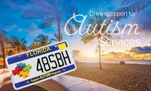 Drive Support for Autism Services with the State of Florida Support Autism Programs Specialty License Plate.