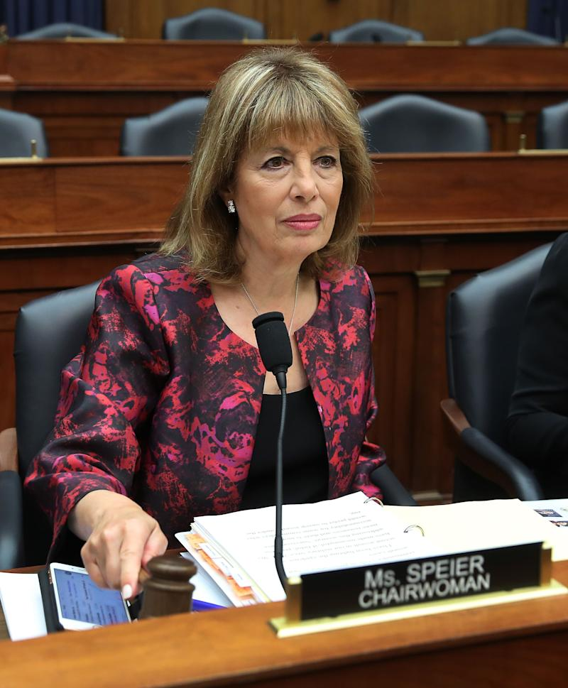 Chairwomen Jackie Speier (D-CA) participates in a House Armed Services Committee hearing which is examining the role of the commander of prosecutions for sexual assaults in the military, on Capitol Hill April 2, 2019 in Washington, DC.