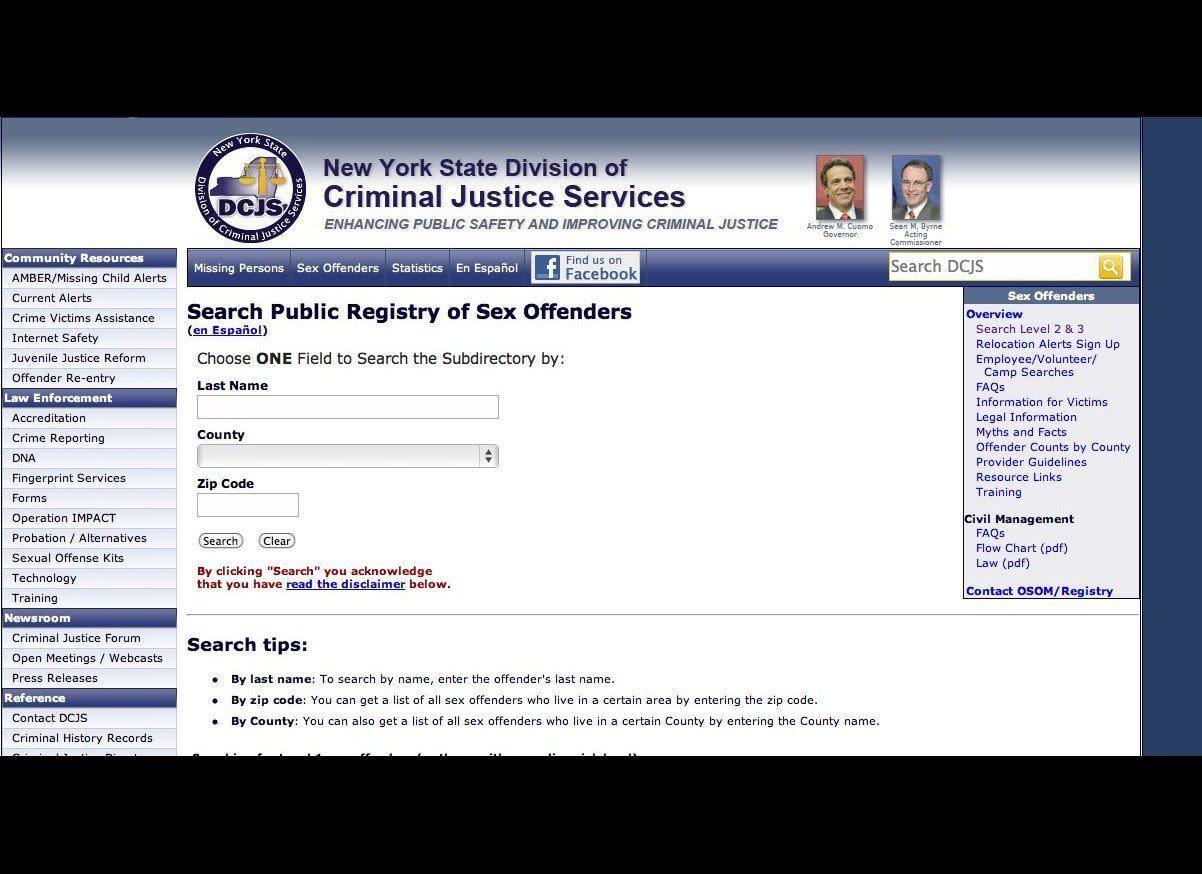 Check the person's name in online databases of sex offenders, which are available in many states.