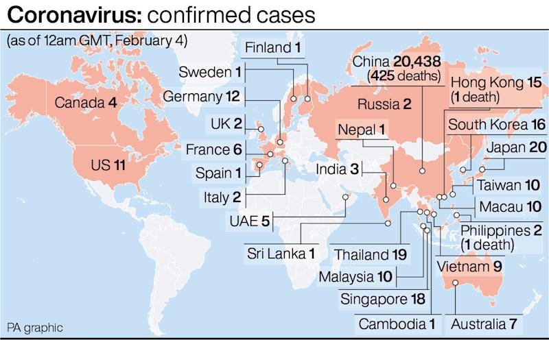 The virus has been spreading rapidly across the globe as people flee China. (PA)