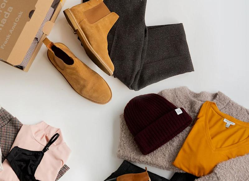 """Learn more about a <strong><a href=""""https://fave.co/2vzUC0d"""" target=""""_blank"""" rel=""""noopener noreferrer"""">Frank and Oak monthly clothing subscription box</a></strong>."""