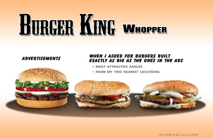 "<b>Burger King Whopper</b><br><br>The advertised burger vs. an actual Burger King Whopper. <br><br>(Image via <a target=""_blank"" href=""http://www.alphaila.com/articles/failure/fast-food-false-advertising-vs-reality/"">Dario D</a>.)"