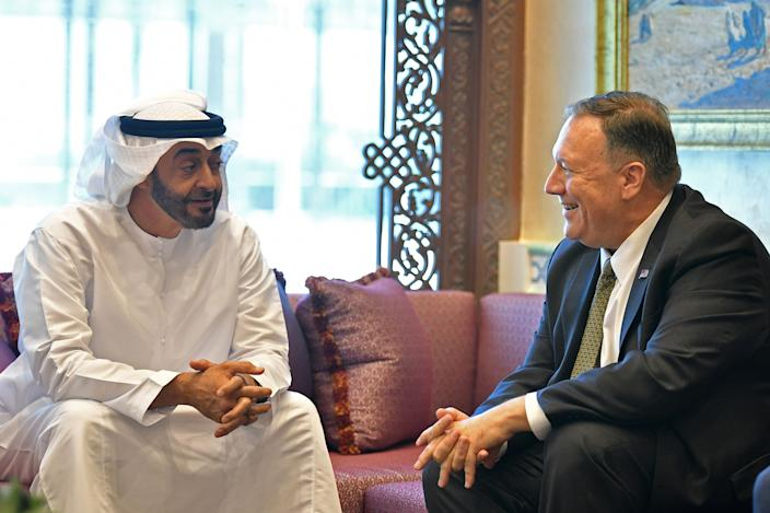 Image: Secretary of State Mike Pompeo meets with Abu Dhabi Crown Prince Mohamed bin Zayed al-Nahyan (Mandel Ngan / Pool via AFP - Getty Images)