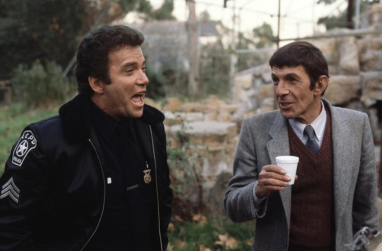 "William Shatner (Actor) with Leonard Nimoy during filming shown in new ABC-TV's fall series: ""T.J. Hooker"" on Dec. 14, 1982. (AP Photo/RED)"