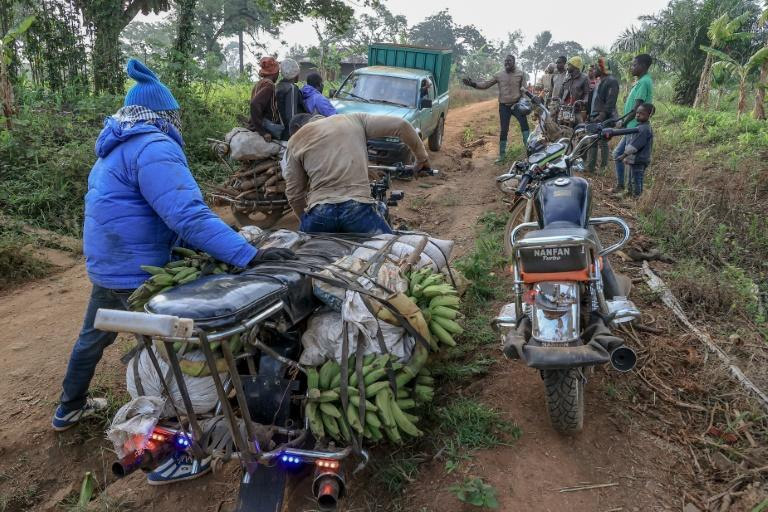 The giant bikes are able to transport goods and people to remote villages on tracks that are almost impossible for cars and trucks