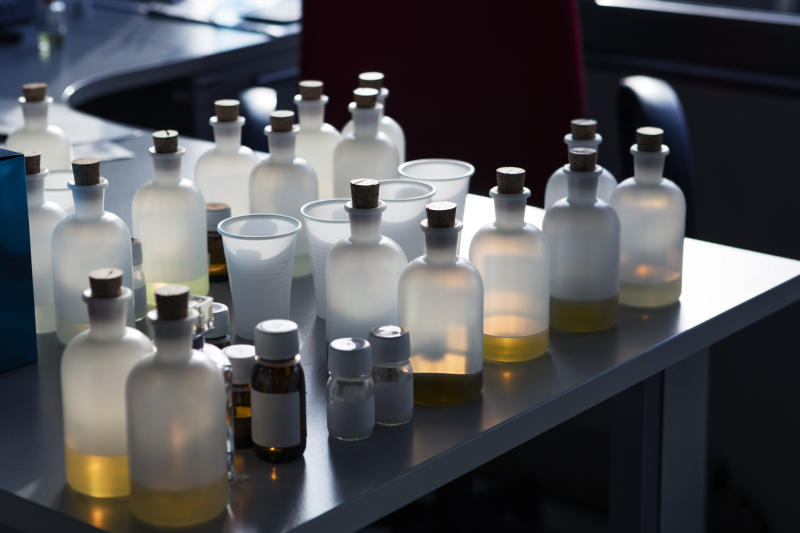 Group of bottles of chemical liquids. (PHOTO: Getty Images)