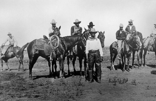 PHOTO: Cowboys preparing to race at a state fair in Bonham, Texas, circa 1913. (Universal Images Group via Getty Images, FILE)
