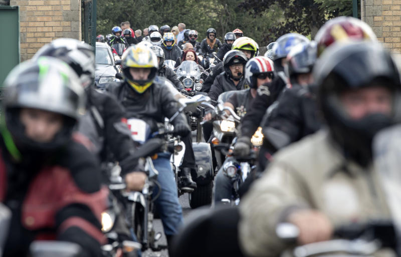 Motorbikes escort the funeral cortege arriving at Grenoside Crematorium, Sheffield, prior to the funeral of Tristan and Blake Barrass. Their mother Sarah Barrass has been charged with their murder and will go on trial later this year. (Photo by Danny Lawson/PA Images via Getty Images)