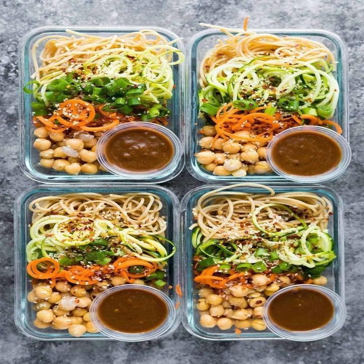 4 cold sesame noodle bowls with chickpeas.
