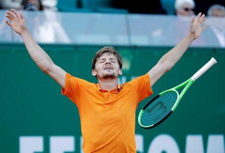 Tennis - Monte Carlo Masters - Monaco, 21/04/2017. David Goffin of Belgium reacts after defeating Novak Djokovic of Serbia.      REUTERS/Eric Gaillard