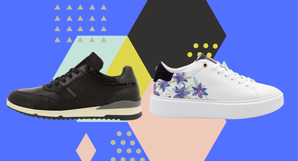 black men's sneaker and white women's sneaker with purple flowers on colourful geometric background