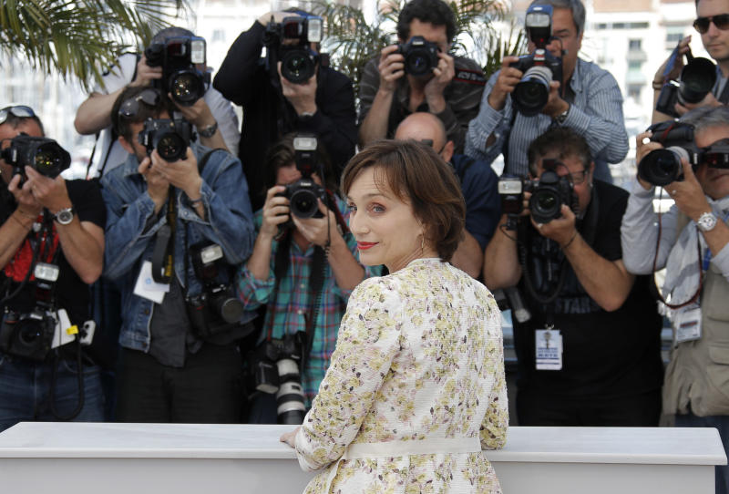 Actress Kristen Scott Thomas poses for photographers during a photo call for the film Only God Forgives at the 66th international film festival, in Cannes, southern France, Wednesday, May 22, 2013. (AP Photo/Lionel Cironneau)