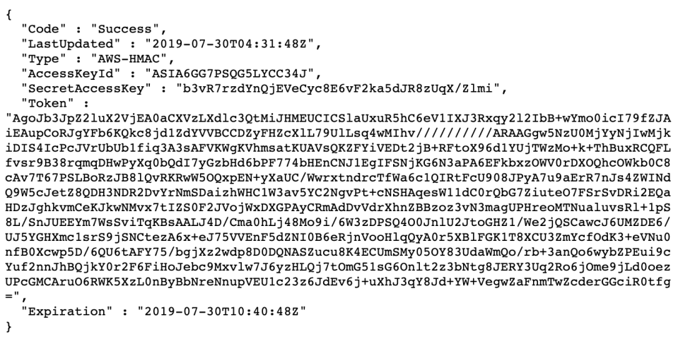 """An example of the """"magic IP"""" address revealing the access and secret keys to a given AWS account. Provided by Scott Piper."""