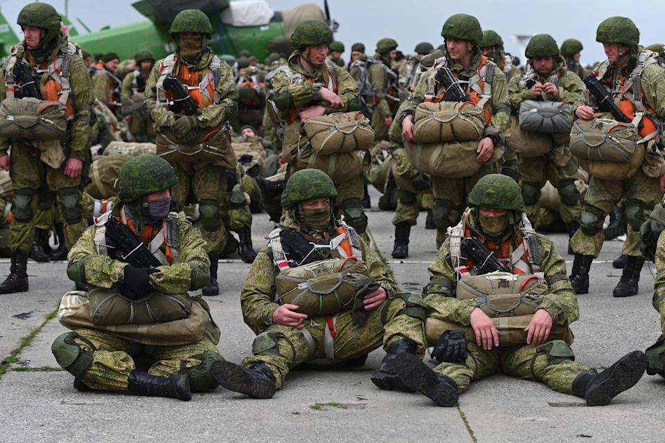 Russian paratroopers on maneuvers in Taganrog, southwestern Russia, last monthAP