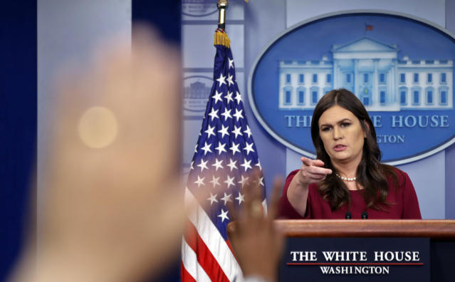 White House press secretary Sarah Sanders taking questions from the media during the White House daily briefing, Oct. 5, 2017. (Photo: Pablo Martinez Monsivais/AP)