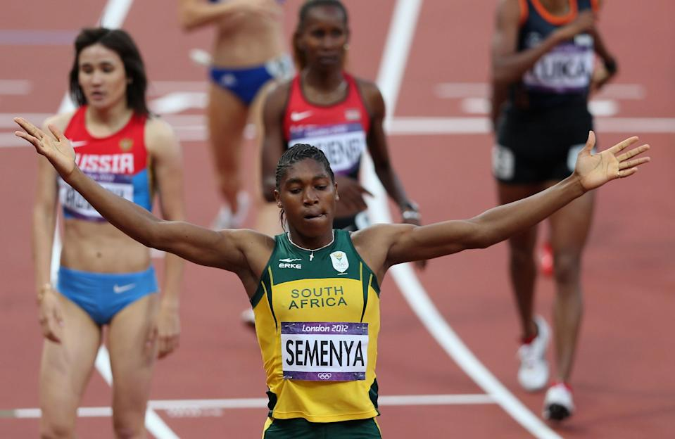 LONDON, ENGLAND - AUGUST 09: Caster Semenya of South Africa reacts after competing in the Women's 800m Semifinals on Day 13 of the London 2012 Olympic Games at Olympic Stadium on August 9, 2012 in London, England. (Photo by Clive Brunskill/Getty Images)