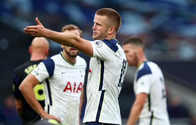 Tottenham's Eric Dier reacts after being penalised for handball against Newcastle
