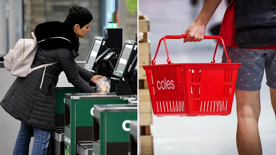 Woolworths customers use self serve checkouts and a Coles customer carries a basket.