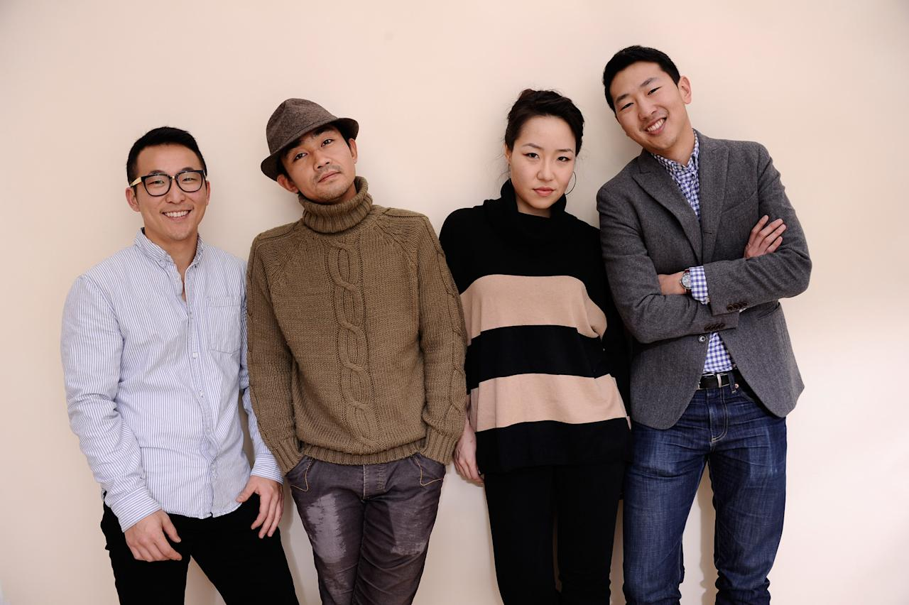 PARK CITY, UT - JANUARY 24:  Actor Joshua Kwak, cinematographer Ki Jin Kim, actress Chris Yejin and  writer/director Andrew Ahn pose for a portrait during the 2012 Sundance Film Festival at the Getty Images Portrait Studio at T-Mobile Village at the Lift on January 24, 2012 in Park City, Utah.  (Photo by Larry Busacca/Getty Images)