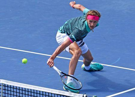 Aug 10, 2018; Toronto, Ontario, Canada; Alexander Zverev of Germany plays a shot against Stefanos Tsitsipas of Greece (not shown) in the Rogers Cup tennis tournament at Aviva Centre. Mandatory Credit: Dan Hamilton-USA TODAY Sports