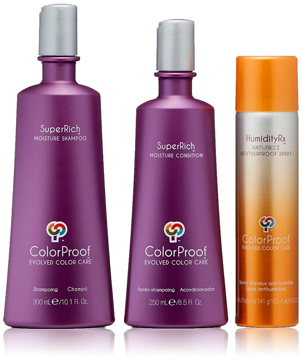 "<h2>30% Off ColorProof Products<br></h2><br>ColorProof is having deals at 30%+ off everything you need to moisturize and style your hair for the coming winter months without feeling guilty about the price tag. <br><br><strong>ColorProof</strong> SuperRich Moisture Trio Kit, $, available at <a href=""https://amzn.to/3nj5TrZ"" rel=""nofollow noopener"" target=""_blank"" data-ylk=""slk:Amazon"" class=""link rapid-noclick-resp"">Amazon</a>"