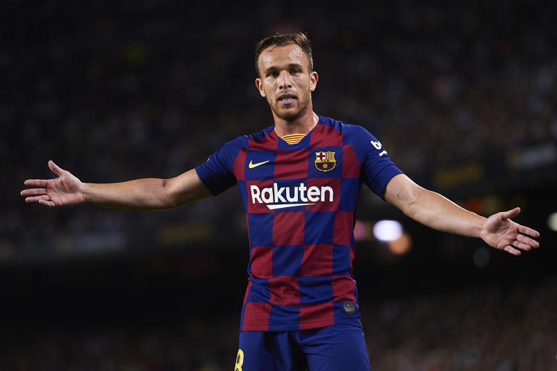 BARCELONA, SPAIN - OCTOBER 06: Arthur Melo of FC Barcelona looks on during the Liga match between FC Barcelona and Sevilla FC at Camp Nou on October 06, 2019 in Barcelona, Spain. (Photo by Aitor Alcalde/Getty Images)