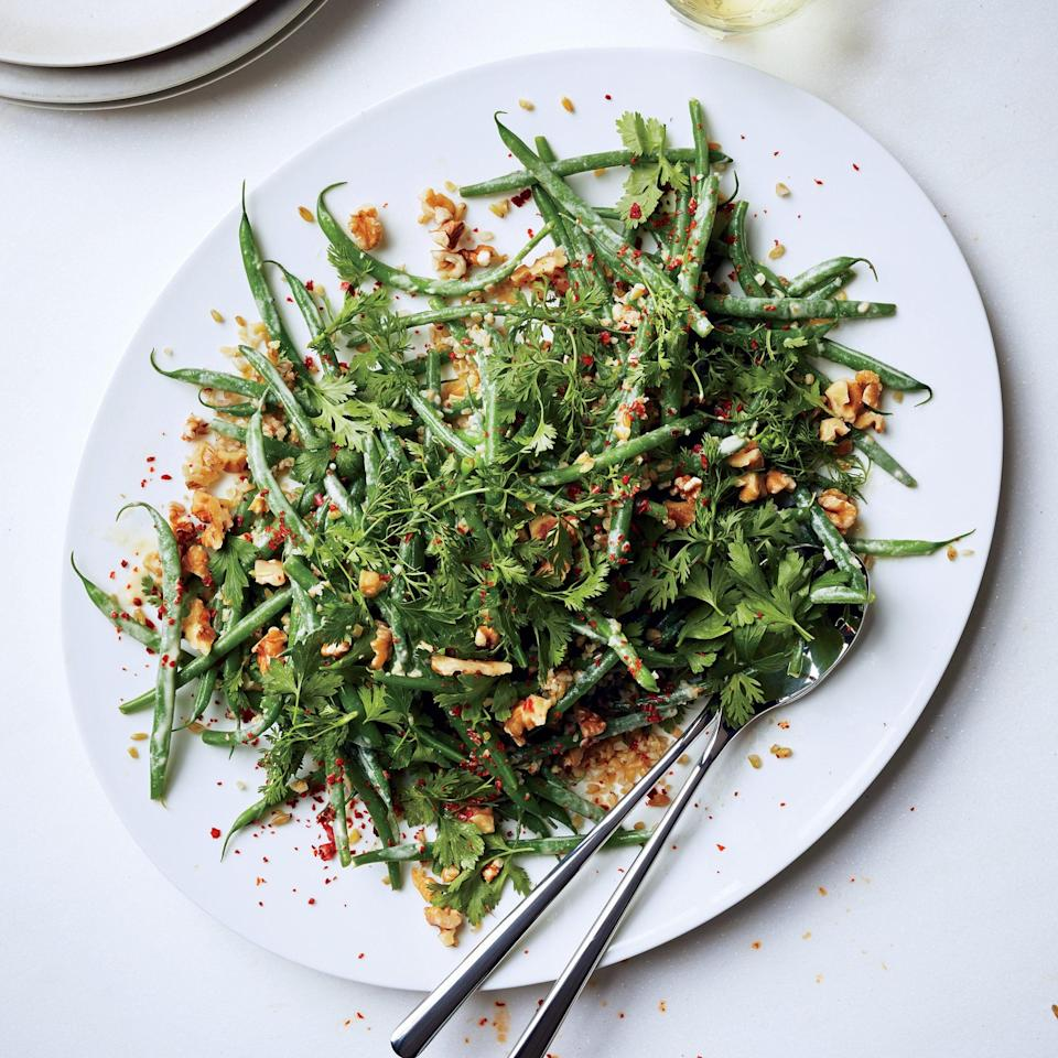 "Ranch has nothing on this dressing from Yotam Ottolenghi, which gets its creaminess from <a href=""https://www.epicurious.com/ingredients/where-to-buy-tahini-how-to-find-good-tahini-sauce-truffles-recipes-article?mbid=synd_yahoo_rss"" rel=""nofollow noopener"" target=""_blank"" data-ylk=""slk:tahini"" class=""link rapid-noclick-resp"">tahini</a>, its herbal backbone from fresh mint, and just a hint of sweetness from maple syrup. <a href=""https://www.epicurious.com/recipes/food/views/haricots-verts-and-freekeh-with-minty-tahini-dressing-51242280?mbid=synd_yahoo_rss"" rel=""nofollow noopener"" target=""_blank"" data-ylk=""slk:See recipe."" class=""link rapid-noclick-resp"">See recipe.</a>"