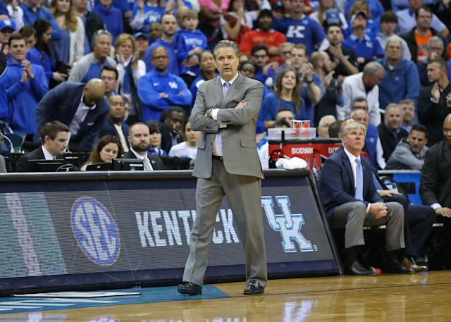 Kentucky Wildcats and John Calipari lost in the Elite Eight to Auburn on Sunday. (Getty Images)