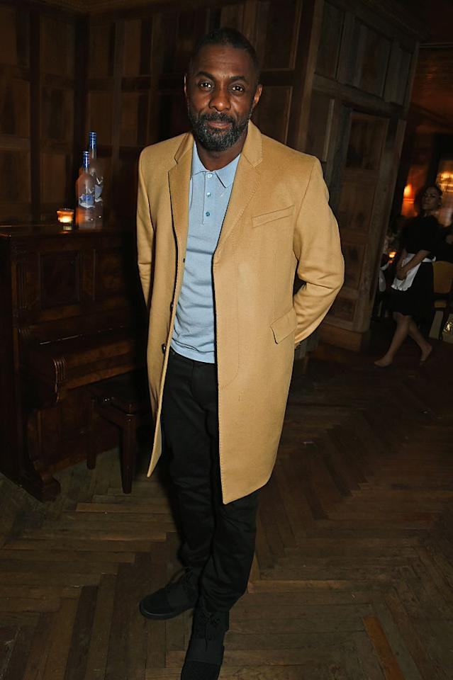 <p>Idris Elba attends a pre-British Academy of Film and Television Arts dinner wearing a camel coat at Little House Mayfair on Feb. 12, 2016, in London. (Photo: Getty Images) </p>
