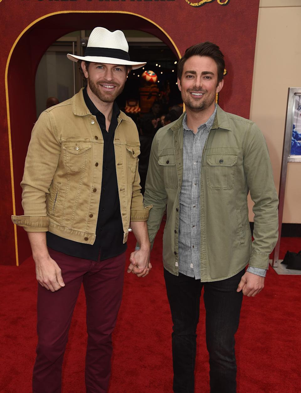 "Jonathan Bennett and his husband, former ""Amazing Race"" contestant Jaymes Vaughan, at the premiere of ""Dumbo"" on March 11, 2019 in Los Angeles."