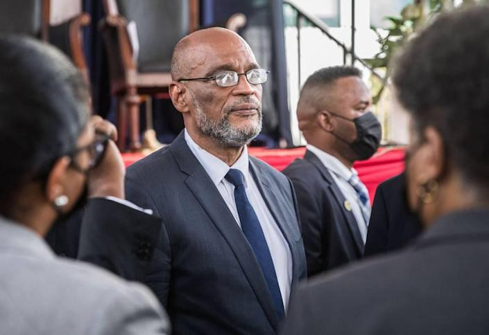 Prime Minister Ariel Henry is sworn in as Haiti's new leader during a ceremony in Port-au-Prince, Haiti, on July 20, 2021.
