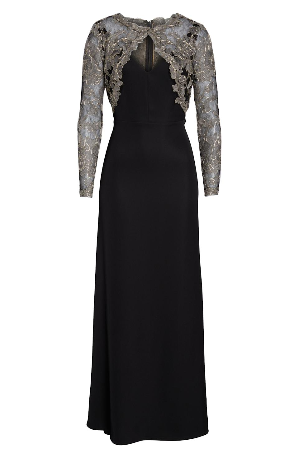 """<p><strong>Tadashi Shoji</strong></p><p>nordstrom.com</p><p><strong>$308.00</strong></p><p><a href=""""https://go.redirectingat.com?id=74968X1596630&url=https%3A%2F%2Fshop.nordstrom.com%2Fs%2Ftadashi-shoji-crepe-embroidered-lace-gown%2F4935863&sref=http%3A%2F%2Fwww.townandcountrymag.com%2Fstyle%2Ffashion-trends%2Fg26522706%2Fbest-dresses-for-older-women%2F"""" rel=""""nofollow noopener"""" target=""""_blank"""" data-ylk=""""slk:Shop Now"""" class=""""link rapid-noclick-resp"""">Shop Now</a></p><p>Glinting metallic lace makes his elegant gown accessories-optional. </p>"""