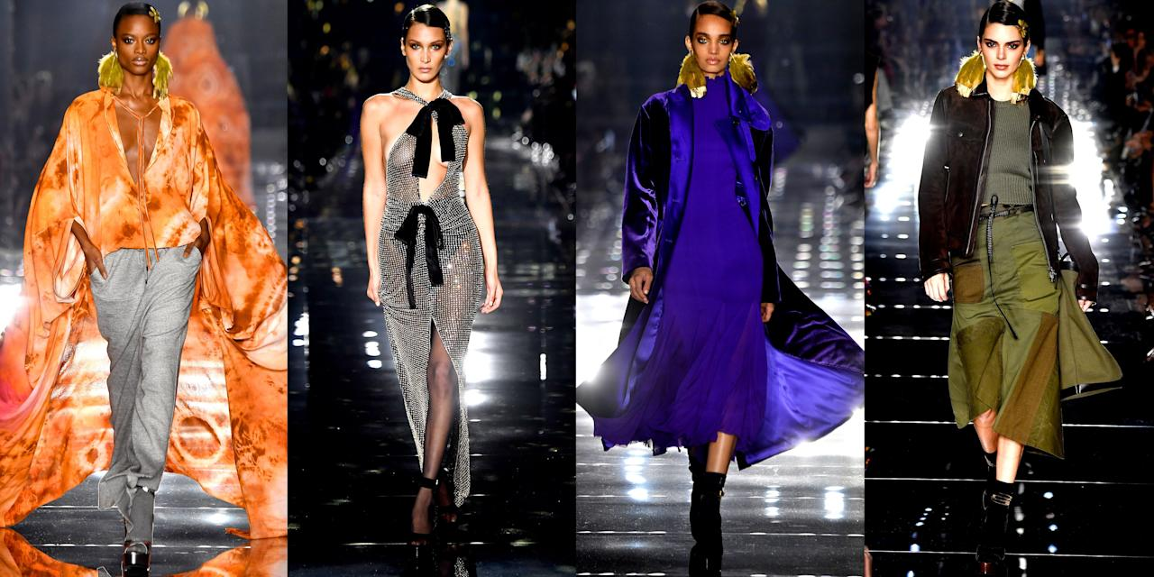 """<p>Tom Ford shook things up for New York Fashion Week by hosting his fall 2020 runway show in Los Angeles instead of NYC. The A-list front row included Jennifer Lopez, Miley Cyrus, Renée Zellweger, Jason Momoa, and Jeff Bezos. Guests took in a collection rooted in '70s glamour that exuded """"more sensual than sexual"""" vibes like a cutout dress and set their eyes on must-have future pieces such as reassembled military looks in khaki and distressed jeans. Meanwhile, Bella Hadid debuted a chain-mail gown that made us do a double-take. To top off his incredible show, Ford closed the runway with a bride for the first time. """"Perhaps I am feeling particularly romantic this season..."""" he said in a press release. """"Fresh and hopeful. And hope is something I think that we all need right now."""" Check out the entire fall 2020 collection, ahead. </p>"""