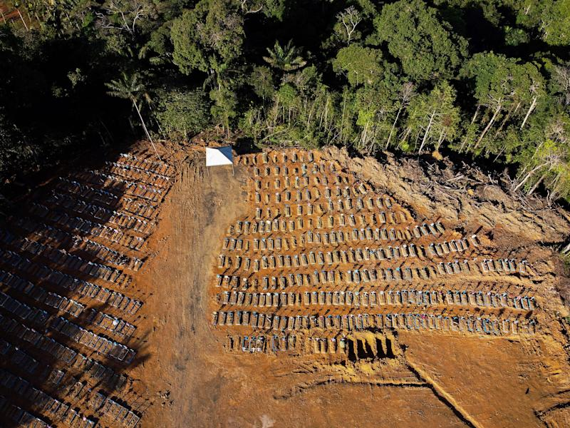 Aerial view showing graves in the Nossa Senhora Aparecida cemetery in Manaus on June 21, 2020. - The novel coronavirus has killed at least 464,423 people worldwide since the outbreak began in China last December, being Brazil Latin America's worsthit country with 49,976 deaths from 1,067,579 cases. (Photo by MICHAEL DANTAS / AFP) (Photo by MICHAEL DANTAS/AFP via Getty Images)
