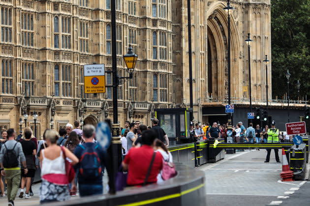The aftermath of the Westminster crash.