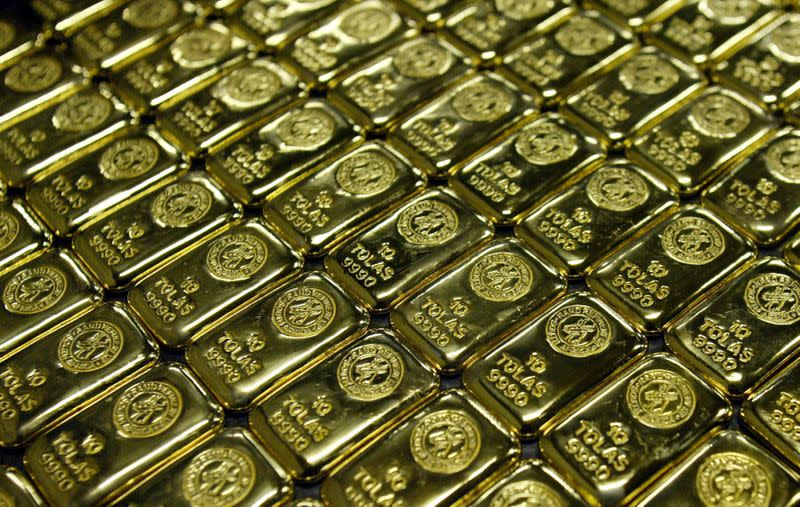 FILE PHOTO: Gold bars are displayed at South Africa's Rand Refinery in Germiston