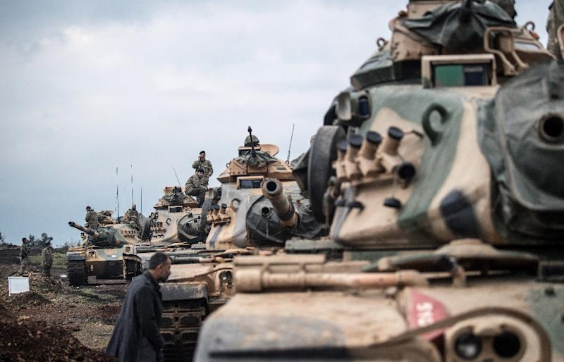 "The Turkish military on Saturday launched operation ""Olive Branch"", its second major incursion into Syrian territory during the seven-year civil war (AFP Photo/BULENT KILIC)"
